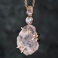 Rustic Organic Raw Rough Morganite And Diamond Necklace. Raw Morganite Necklace. Morganite Necklace. Morganite And Diamond Necklace   Natural genuine Gemstone jewelry. Buy crystal jewelry, handmade handcrafted artisan jewelry for women.  Unique handmade gift ideas. #jewelry #beadedjewelry #beadedjewelry #gift #shopping #handmadejewelry #fashion #style #product #jewelry #affiliate #ad