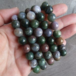 Shop Moss Agate Bracelets! Moss Agate 10 Mm Round Stretchy String Bracelet G25 | Natural genuine Moss Agate bracelets. Buy crystal jewelry, handmade handcrafted artisan jewelry for women.  Unique handmade gift ideas. #jewelry #beadedbracelets #beadedjewelry #gift #shopping #handmadejewelry #fashion #style #product #bracelets #affiliate #ad