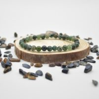 """Natural Moss Agate Semi-precious Gemstone Round Beads Sample Strand / Bracelet – 6mm Or 8mm Sizes, Approx 7.5"""" 