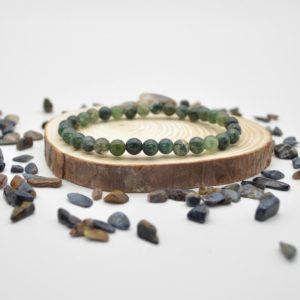 """Shop Moss Agate Bracelets! Natural Moss Agate Semi-precious Gemstone Round Beads Sample Strand / Bracelet – 6mm Or 8mm Sizes, Approx 7.5"""" 