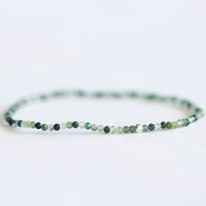 Shop Moss Agate Bracelets! Moss Agate Stretch Bracelet, Ultra Delicate Beaded Gemstone Jewelry | Natural genuine Moss Agate bracelets. Buy crystal jewelry, handmade handcrafted artisan jewelry for women.  Unique handmade gift ideas. #jewelry #beadedbracelets #beadedjewelry #gift #shopping #handmadejewelry #fashion #style #product #bracelets #affiliate #ad
