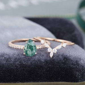 Pear shaped Rose gold Moss Agate engagement ring vintage Moissanite /Diamond ring Marquise cut stacking Bridal set Anniversary gift for her | Natural genuine Gemstone rings, simple unique alternative gemstone engagement rings. #rings #jewelry #bridal #wedding #jewelryaccessories #engagementrings #weddingideas #affiliate #ad