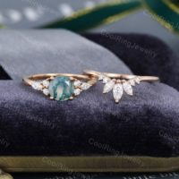 Rose Gold Moss Agate Engagement Ring Vintage Moissanite / diamond Ring Marquise Cut Stacking Art Deco Bridal Set Anniversary Gift For Women | Natural genuine Gemstone jewelry. Buy handcrafted artisan wedding jewelry.  Unique handmade bridal jewelry gift ideas. #jewelry #beadedjewelry #gift #crystaljewelry #shopping #handmadejewelry #wedding #bridal #jewelry #affiliate #ad