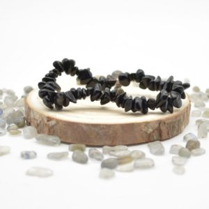 """Shop Obsidian Chip & Nugget Beads! Natural Black Obsidian Semi-precious Gemstone Chip / Nugget Beads Sample Strand / Bracelet – 5mm – 8mm, Approx 7.5"""" 