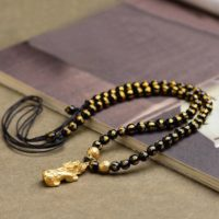 Feng Shui Pixiu Pi Yao Mantra Bead Necklace-black Obsidian 6mm Beads Necklace-good Luck Attract Wealth Prosperity Abundance Money Necklace | Natural genuine Gemstone jewelry. Buy crystal jewelry, handmade handcrafted artisan jewelry for women.  Unique handmade gift ideas. #jewelry #beadedjewelry #beadedjewelry #gift #shopping #handmadejewelry #fashion #style #product #jewelry #affiliate #ad