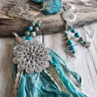 Necklace Ocean Jasper, Sea Sediment, Orbicular Jasper, Bohemian Chic Gipsy Turquoise | Natural genuine Gemstone jewelry. Buy crystal jewelry, handmade handcrafted artisan jewelry for women.  Unique handmade gift ideas. #jewelry #beadedjewelry #beadedjewelry #gift #shopping #handmadejewelry #fashion #style #product #jewelry #affiliate #ad