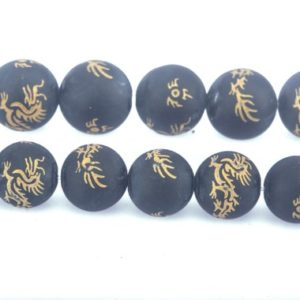Shop Onyx Bead Shapes! matte black onyx gemstone dragon textured beads – black and gold tone beads – lucky symbol beads – jewelry making materials – 15inch | Natural genuine other-shape Onyx beads for beading and jewelry making.  #jewelry #beads #beadedjewelry #diyjewelry #jewelrymaking #beadstore #beading #affiliate #ad