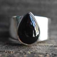 Mens Natural Black Onyx Ring, 925 Silver Ring, unisex Black Onyx Ring, mens Black Onyx Ring, mens Onyx Ring, drop Shape Ring, gemstone Ring | Natural genuine Gemstone jewelry. Buy handcrafted artisan men's jewelry, gifts for men.  Unique handmade mens fashion accessories. #jewelry #beadedjewelry #beadedjewelry #shopping #gift #handmadejewelry #jewelry #affiliate #ad