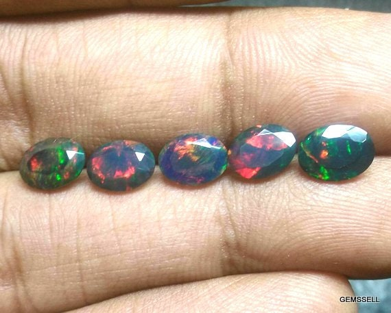 5 Pieces 6x8mm Black Opal Faceted Oval Loose Gemstone, Black Opal Oval Faceted Aaa Quality Gemstone, Opal Faceted Oval Loose Gemstone