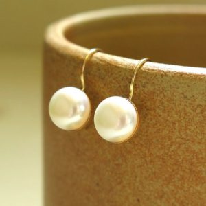 Shop Pearl Jewelry! 14K Solid Yellow Gold 8 Mm White Pearl Round Earrings, Wedding Jewelry, Romantic Gift, June Birthstone, Promise Jewelry,Valentine's Day Gift | Natural genuine Pearl jewelry. Buy handcrafted artisan wedding jewelry.  Unique handmade bridal jewelry gift ideas. #jewelry #beadedjewelry #gift #crystaljewelry #shopping #handmadejewelry #wedding #bridal #jewelry #affiliate #ad