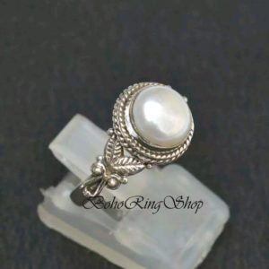 Shop Pearl Rings! Pearl Ring, Gemstone Ring, Statement Ring, Handmade Ring, Boho Ring, 925 Silver Ring, Dainty Ring, Stone Ring, Women Ring, Gift For Her | Natural genuine Pearl rings, simple unique handcrafted gemstone rings. #rings #jewelry #shopping #gift #handmade #fashion #style #affiliate #ad