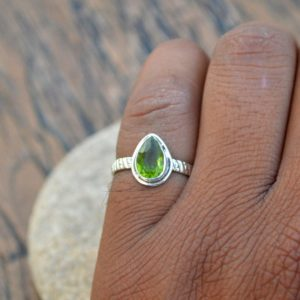 Shop Peridot Rings! Peridot Gemstone Ring, 925 Sterling Silver Ring, August Birthstone Gift Ring, Birthstone Ring, Designer Band Peridot Ring, Tiny Peridot Ring | Natural genuine Peridot rings, simple unique handcrafted gemstone rings. #rings #jewelry #shopping #gift #handmade #fashion #style #affiliate #ad