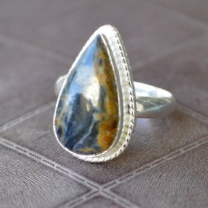 Shop Pietersite Rings! Pietersite Jasper Ring, Pear Shape Pietersite Jasper Gemstone Ring, 925 Sterling Silver Ring, 14k Yellow Gold Fill, Rose Gold Fill Jewelry | Natural genuine Pietersite rings, simple unique handcrafted gemstone rings. #rings #jewelry #shopping #gift #handmade #fashion #style #affiliate #ad