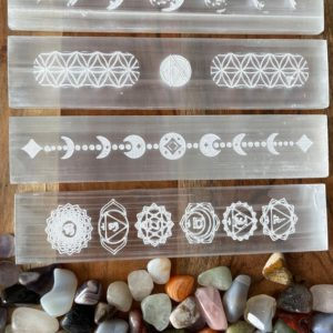 """Shop Crystal Healing! Polished Selenite Charging Station 8 long """" Flat Crystal Plate ,gemstone charging ,Protection Cleansing Meditation Crystal Healing Chakra 