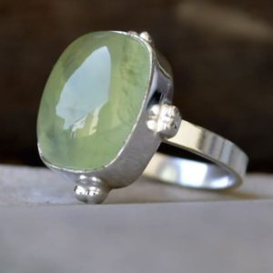 Shop Prehnite Rings! Prehnite ring, Cushion Green Prehnite Gemstone Ring , 925 sterling silver Ring, 14K Yellow Gold Fill, Rose Gold Fill Jewelry | Natural genuine Prehnite rings, simple unique handcrafted gemstone rings. #rings #jewelry #shopping #gift #handmade #fashion #style #affiliate #ad