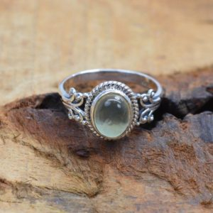 Shop Prehnite Rings! Green Prehnite 925 Sterling Silver Ring | Natural genuine Prehnite rings, simple unique handcrafted gemstone rings. #rings #jewelry #shopping #gift #handmade #fashion #style #affiliate #ad