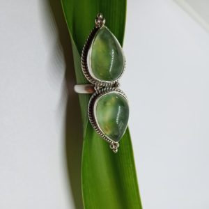 Shop Prehnite Rings! Prehnite Ring, Natural prehnite ring Green Prehnite Gemstone ring 925 sterling silver ring,natural prehnite ring,Teardrop Ring,Handmade Ring | Natural genuine Prehnite rings, simple unique handcrafted gemstone rings. #rings #jewelry #shopping #gift #handmade #fashion #style #affiliate #ad
