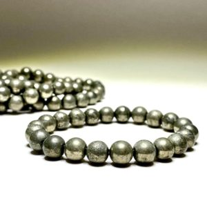 Pyrite Bead Bracelet | Natural genuine Pyrite bracelets. Buy crystal jewelry, handmade handcrafted artisan jewelry for women.  Unique handmade gift ideas. #jewelry #beadedbracelets #beadedjewelry #gift #shopping #handmadejewelry #fashion #style #product #bracelets #affiliate #ad