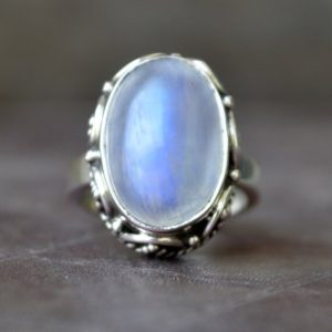Shop Rainbow Moonstone Rings! rainbow moonstone ring,  oval cab blue moonstone handmade Ring Jewelry, Blue Moonstone 925 sterling silver gift Ring | Natural genuine Rainbow Moonstone rings, simple unique handcrafted gemstone rings. #rings #jewelry #shopping #gift #handmade #fashion #style #affiliate #ad