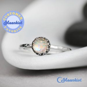 Vintage Style Rainbow Moonstone Promise Ring, Sterling Silver Moonstone Ring, Moonstone Gemstone Ring, June Birthstone | Moonkist Designs | Natural genuine Rainbow Moonstone rings, simple unique handcrafted gemstone rings. #rings #jewelry #shopping #gift #handmade #fashion #style #affiliate #ad