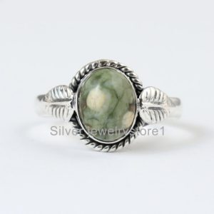 Shop Rainforest Jasper Rings! Real Rainforest Jasper 925 Sterling Silver, Oval Stone Ring, Organic Ring , Silver Ring, Natural Gemstone Ring, Women Ring, Handmade Ring   Natural genuine Rainforest Jasper rings, simple unique handcrafted gemstone rings. #rings #jewelry #shopping #gift #handmade #fashion #style #affiliate #ad