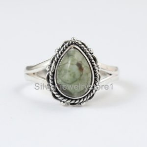 Shop Rainforest Jasper Rings! Real Rainforest Jasper 925 Sterling Silver, Pear Shape Stone Ring, Organic Ring , Silver Ring, Natural Gemstone Ring, Women Ring, Handmade   Natural genuine Rainforest Jasper rings, simple unique handcrafted gemstone rings. #rings #jewelry #shopping #gift #handmade #fashion #style #affiliate #ad