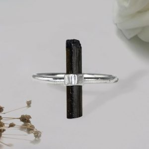 Shop Black Tourmaline Rings! Raw Black Tourmaline Ring, Tourmaline Pencil Ring, Handmade Ring Tourmaline Terminated Ring, Sterling Silver Ring, Womens Ring, Gift for Her   Natural genuine Black Tourmaline rings, simple unique handcrafted gemstone rings. #rings #jewelry #shopping #gift #handmade #fashion #style #affiliate #ad