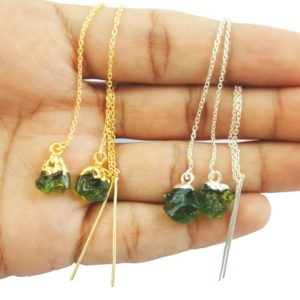 Shop Moldavite Earrings! Raw Moldavite Earrings Gemstone Glass Rough – Gold Vermeil Threader – Long Chain Earrings Jewelry – Selling Per Pair   Natural genuine Moldavite earrings. Buy crystal jewelry, handmade handcrafted artisan jewelry for women.  Unique handmade gift ideas. #jewelry #beadedearrings #beadedjewelry #gift #shopping #handmadejewelry #fashion #style #product #earrings #affiliate #ad