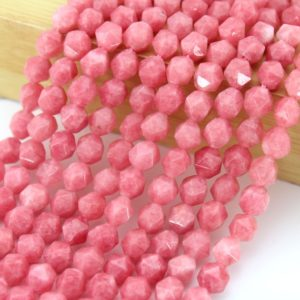 Shop Rhodochrosite Beads! 7x8mm Genuine Natural Pink Rhodochrosite Loose Beads , Faceted Star Cut stone beads,  Gemstone Beads, -14.5 inches-approx46-47beads-NS04 | Natural genuine beads Rhodochrosite beads for beading and jewelry making.  #jewelry #beads #beadedjewelry #diyjewelry #jewelrymaking #beadstore #beading #affiliate #ad