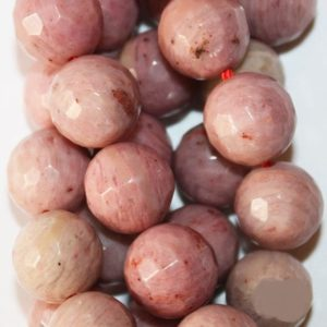 """Shop Rhodonite Faceted Beads! Genuine Faceted Rhodonite Beads – Round 10 mm Gemstone Beads – Full Strand 15 1/2"""", 37 beads, A-Quality 