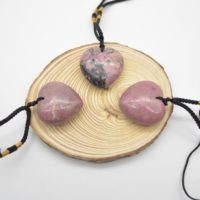 Natural Rhodonite Heart Shaped Semi-precious Gemstone Pendant With Cord – Approx Size 3cm | Natural genuine Gemstone jewelry. Buy crystal jewelry, handmade handcrafted artisan jewelry for women.  Unique handmade gift ideas. #jewelry #beadedjewelry #beadedjewelry #gift #shopping #handmadejewelry #fashion #style #product #jewelry #affiliate #ad