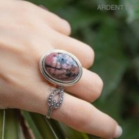 Rhodonite Ring, Natural Rhodonite Sterling Silver Ring, Statement Ring, Gift Wife Mom, Boho Classic Design Gothic Ring, Pink Stone Ring | Natural genuine Gemstone jewelry. Buy crystal jewelry, handmade handcrafted artisan jewelry for women.  Unique handmade gift ideas. #jewelry #beadedjewelry #beadedjewelry #gift #shopping #handmadejewelry #fashion #style #product #jewelry #affiliate #ad