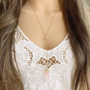 Shop Rose Quartz Necklaces! Rose Quartz Necklace – Long Rose Quartz Crystal Necklace Silver – Pink Gemstone Necklace – Crystal Y Shape Necklace – Mothers Day Necklace | Natural genuine Rose Quartz necklaces. Buy crystal jewelry, handmade handcrafted artisan jewelry for women.  Unique handmade gift ideas. #jewelry #beadednecklaces #beadedjewelry #gift #shopping #handmadejewelry #fashion #style #product #necklaces #affiliate #ad