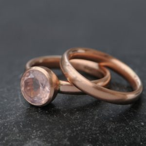 18K Rose Gold Rose Quartz Ring – Rose Quartz Wedding Set – 18K Rose Gold Wedding Set – Pink Gemstone Engagement Ring – Made to Order | Natural genuine Array jewelry. Buy handcrafted artisan wedding jewelry.  Unique handmade bridal jewelry gift ideas. #jewelry #beadedjewelry #gift #crystaljewelry #shopping #handmadejewelry #wedding #bridal #jewelry #affiliate #ad