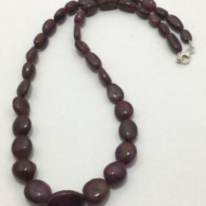 Shop Ruby Chip & Nugget Beads! Natural Ruby Beaded Necklace Ruby Plain Smooth Nuggets Shape Necklace Ruby Necklace With Silver Clasp Ruby Handmade Necklace July Birthstone | Natural genuine chip Ruby beads for beading and jewelry making.  #jewelry #beads #beadedjewelry #diyjewelry #jewelrymaking #beadstore #beading #affiliate #ad