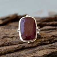 Ruby Gemstone Ring, Bezel Setting Statement Ring, 925 Sterling Silver Ring, Cushion Faceted Dark Ruby Stone Ring July Birthstone Gift Ring | Natural genuine Gemstone jewelry. Buy crystal jewelry, handmade handcrafted artisan jewelry for women.  Unique handmade gift ideas. #jewelry #beadedjewelry #beadedjewelry #gift #shopping #handmadejewelry #fashion #style #product #jewelry #affiliate #ad