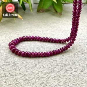 Natural Ruby 4-8mm Smooth Rondelle Shape Gemstone Beads / Approx. 145 Pieces On 19 Inch Long Strand / Jbc-et-158133 | Natural genuine beads Gemstone beads for beading and jewelry making.  #jewelry #beads #beadedjewelry #diyjewelry #jewelrymaking #beadstore #beading #affiliate #ad