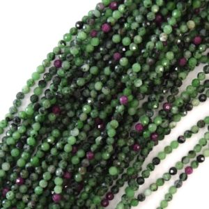"""Shop Ruby Zoisite Faceted Beads! 3mm natural faceted ruby zoisite round beads 15.5"""" strand 