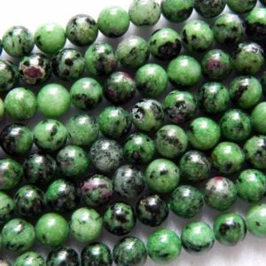 Shop Ruby Zoisite Round Beads! Ruby Zoisite Beads, Natural Gemstone Beads, Round Stone Beads, 6mm 8mm 10mm 12mm 15'' | Natural genuine round Ruby Zoisite beads for beading and jewelry making.  #jewelry #beads #beadedjewelry #diyjewelry #jewelrymaking #beadstore #beading #affiliate #ad