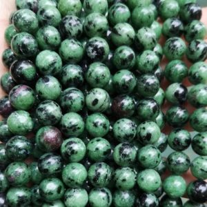 """Shop Ruby Zoisite Round Beads! Natural Ruby Zoisite Smooth Round Beads,4mm 6mm 8mm 10mm 12mm Ruby Zoisite Gemstone Beads Wholesale Supply,one strand 15"""" 