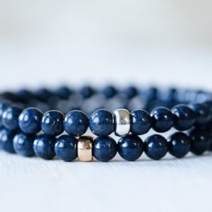 Shop Sapphire Bracelets! Blue Sapphire 6mm | Sapphire Bracelet Handmade | Dark Blue Sapphire | High Grade Gemstone Bracelet Natural Sapphire Bracelet Stacking | Natural genuine Sapphire bracelets. Buy crystal jewelry, handmade handcrafted artisan jewelry for women.  Unique handmade gift ideas. #jewelry #beadedbracelets #beadedjewelry #gift #shopping #handmadejewelry #fashion #style #product #bracelets #affiliate #ad