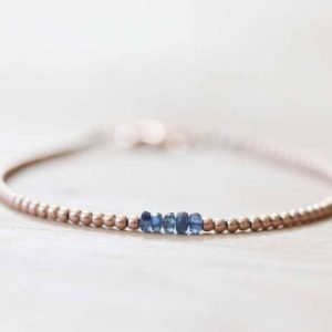 Shop Sapphire Bracelets! Ultra Dainty Rose Gold Fill Beaded Bracelet with Sapphire, Skinny Beaded Stacking Bracelet, Pink Gold Fill Jewelry | Natural genuine Sapphire bracelets. Buy crystal jewelry, handmade handcrafted artisan jewelry for women.  Unique handmade gift ideas. #jewelry #beadedbracelets #beadedjewelry #gift #shopping #handmadejewelry #fashion #style #product #bracelets #affiliate #ad