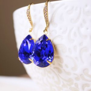 Shop Sapphire Earrings! Gold CZ, Sapphire Teardrop Earrings   Natural genuine Sapphire earrings. Buy crystal jewelry, handmade handcrafted artisan jewelry for women.  Unique handmade gift ideas. #jewelry #beadedearrings #beadedjewelry #gift #shopping #handmadejewelry #fashion #style #product #earrings #affiliate #ad