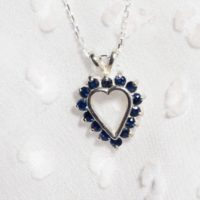 Blue Sapphire Pendant, Genuine Gemstones 1 / 2ct Total , set In 925 Sterling Silver Heart Pendant, With 18inch Adjustable Chain Included | Natural genuine Gemstone jewelry. Buy crystal jewelry, handmade handcrafted artisan jewelry for women.  Unique handmade gift ideas. #jewelry #beadedjewelry #beadedjewelry #gift #shopping #handmadejewelry #fashion #style #product #jewelry #affiliate #ad