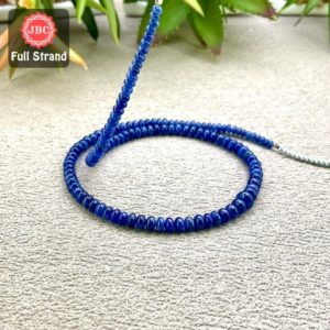 Natural Blue Sapphire 3-5mm Smooth Rondelle Shape Gemstone Beads / Approx. 136 Pieces On 15 Inch Long Strand / Jbc-et-158141 | Natural genuine beads Gemstone beads for beading and jewelry making.  #jewelry #beads #beadedjewelry #diyjewelry #jewelrymaking #beadstore #beading #affiliate #ad