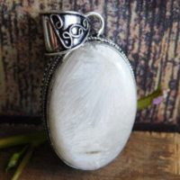 White Scolecite Pendant, Sterling Silver Pendant, scolecite Pendant, Healing Stone, Scolecite Jewelry, White Stone, Scolecite Gemstone, (nj-9) | Natural genuine Gemstone jewelry. Buy crystal jewelry, handmade handcrafted artisan jewelry for women.  Unique handmade gift ideas. #jewelry #beadedjewelry #beadedjewelry #gift #shopping #handmadejewelry #fashion #style #product #jewelry #affiliate #ad