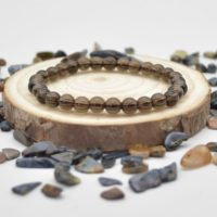 """Natural Smoky Quartz Semi-precious Gemstone Round Beads Sample Strand / Bracelet – 6mm Or 8mm Sizes, Approx 7.5"""" 