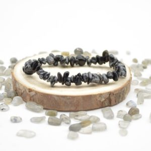 """Shop Snowflake Obsidian Chip & Nugget Beads! Natural Snowflake Obsidian Semi-precious Gemstone Chip / Nugget Beads Sample Strand / Bracelet – 5mm – 8mm, Approx 7.5"""" 