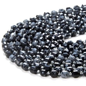 Shop Snowflake Obsidian Faceted Beads! 6mm Snowflake Obsidian Gemstone Grade Aa Faceted Prism Double Point Cut Loose Beads (d111) | Natural genuine faceted Snowflake Obsidian beads for beading and jewelry making.  #jewelry #beads #beadedjewelry #diyjewelry #jewelrymaking #beadstore #beading #affiliate #ad