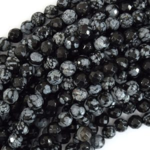 """Natural Faceted Black Snowflake Obsidian Round Beads 15"""" 4mm 6mm 8mm 10mm 12mm 